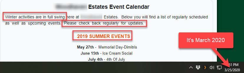 Events Calendar Out-of-Date