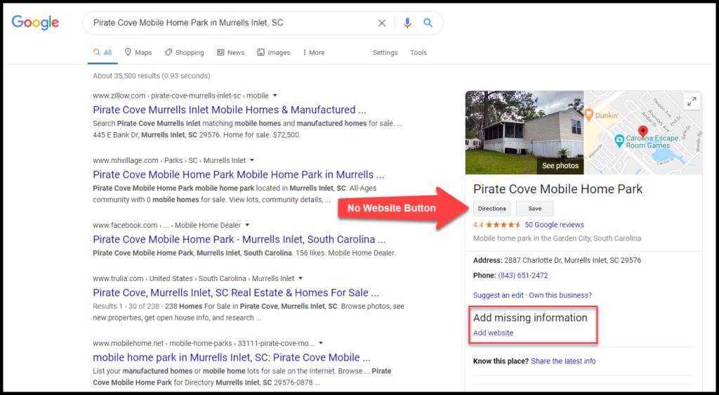 google my business no website button mhc websites